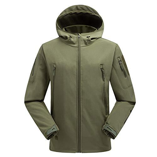 XYL HOME Soft shell kleding outdoor tad haai huid zachte shell kleding jas waterdicht mannelijke camouflage bergbeklimmen pak, donkergroen, XL