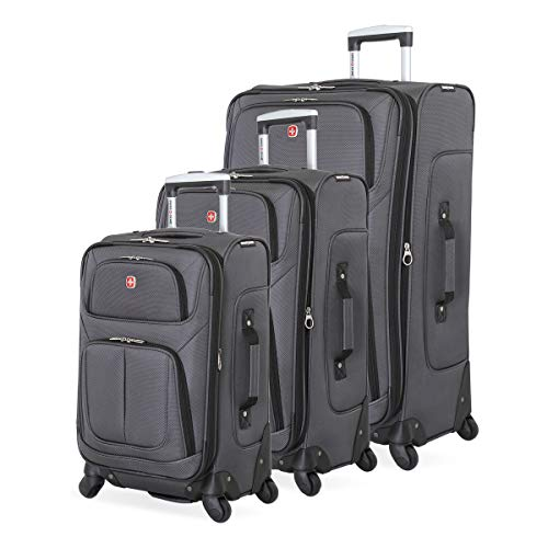 SWISSGEAR 6283 Amazon Exclusive Premium 3pc Spinner Luggage Set with Dopp Kit Bundle Dark Grey