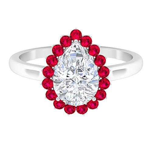 7 x 10 mm corte pera D-VSSI Moissanite Solitario Anillo, anillo de compromiso halo, anillo de lágrima 14K Oro blanco