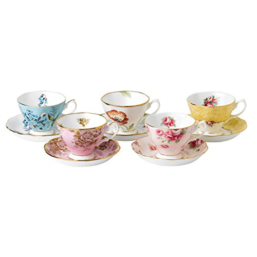 Royal Albert 100 Years Anniversary Collection 1950-1990 5 Cup and Saucer Tea Set, Mostly White with Multicolored Floral Print