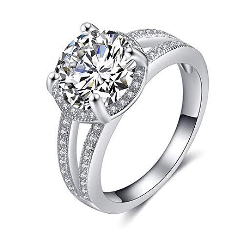 Gquan Dama Moda Temperamento 925 Bodas de Plata Anillo con Diamante Anillo de Dedo de San Valentín Regalos con joyero Joyas para Damas