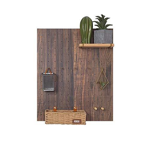 JCNFA planken muur Mount drijvende plank Organizer decoratieve panelen rechthoek verwijderbare haken hout en metalen kunst 46 * 56cm Teak Color