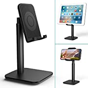 Klearlook Phone/Tablet Stand,Height Adjustable&Angle Tiltable Stand Holder, Portable Universal DesktopCellphone Dock Support Cradle Fit for Smartphones&Tablets Up to 9.7 Inches - Black