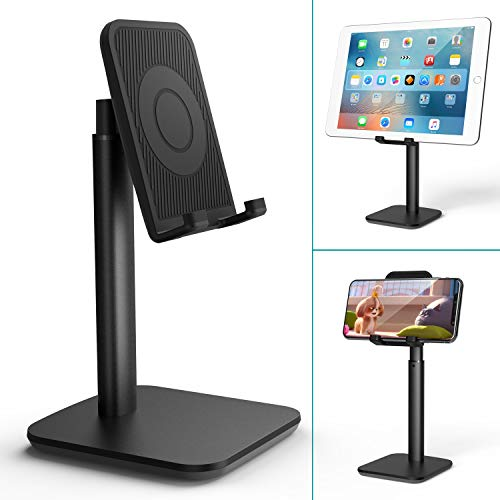 Klearlook Phone/Tablet Stand,Height Adjustable&Angle Tiltable Stand Holder, Portable Universal Desktop Cellphone Dock Support Cradle Fit for Smartphones&Tablets Up to 9.7 Inches - Black