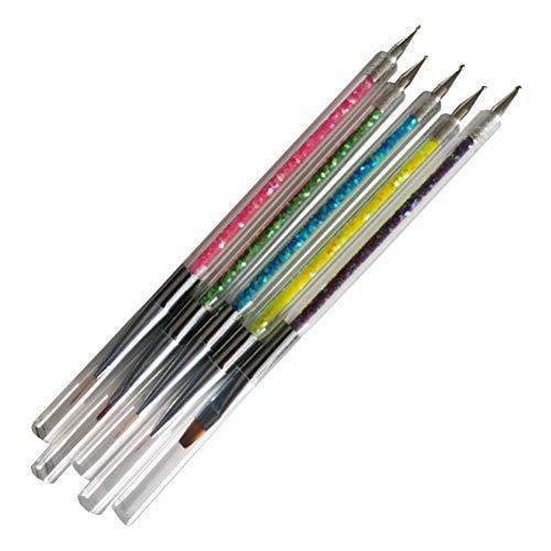1 Set / 5 PCS Portable Nail Art Pen Double-Headed Point Drill Line Dessin Stylos Brosses Double Usage Délicat DIY Outils De Manucure pour Femmes Filles