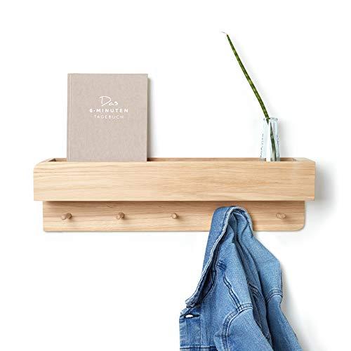 Natuhr Garderobe Porter Regal Wand Schlüsselbrett Eiche (50 cm, Eiche unbehandelt)