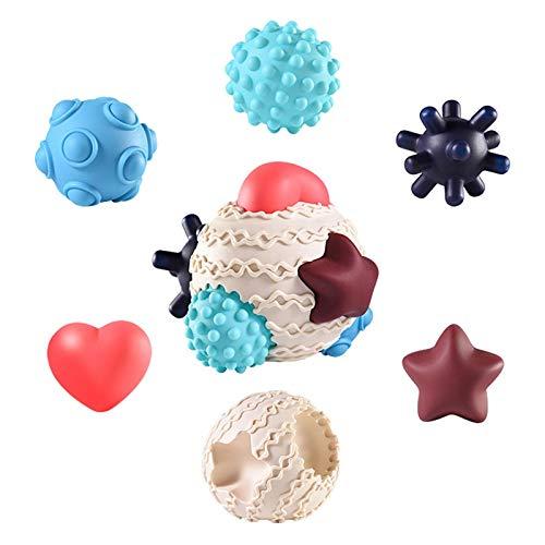Wood.L Bolas Sensoriales para Bebés Juguetes Bebe, 6 Pcs Multi-Touch Textured Senses Soft Hand Ball Juguete De Pelota De Mano Suave De Entrenamiento Táctil para 6 Meses A 1 Año Multi Textura Pelota