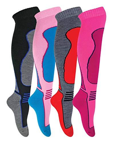 sock snob 4er Pack Herren Damen Kinder Gepolstert Extra Warm Thermo Skisocken,Mehrfarbig,35/40, SL305 Ladies)