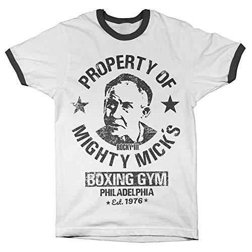 Rocky Offizielles Lizenzprodukt Mighty Mick's Gym Ringer Herren T-Shirt (Weiß-Schwarz), X-Large