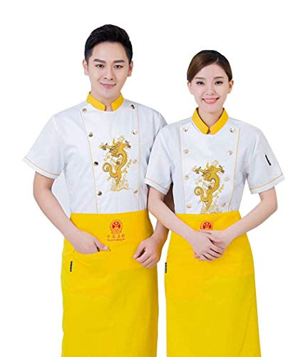 CHERPP Unisex Chef Jacket Hotel/Keuken Chinese draak Lange mouwen Werkkleding Uniform Chef Coat Wit