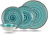 Juego de vajilla de 16 piezas de porcelana para 4 personas | platos hondos, platos llanos, platos de postre y cuencos | Vajilla moderna vintage de alta calidad | color turquesa y negro