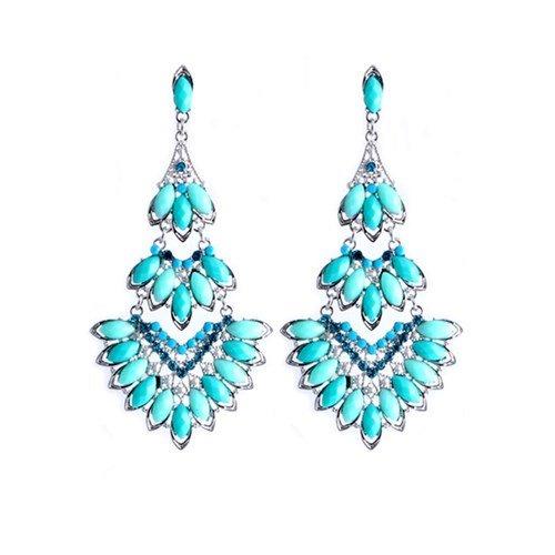 Fashion pendientes mujeres bohemio Glamour lámpara de araña de mosaico y cristales de tortuga azul