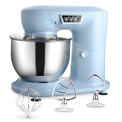 AIFEEL Stand Mixer - 1000W tilt-head kitchen machine with 4L SUS bowl, transparent splash guard, flat beater, dough hook and balloon whisk - 3 speed settings with LED display - Light Blue