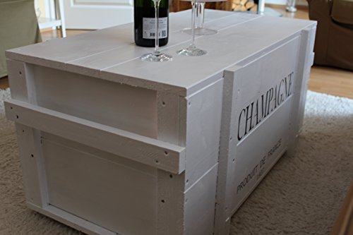 Uncle Joe´s Truhe Holzkiste Champagne, 85 x 45 x 46 cm, Holz, Weiss, Vintage, Shabby chic Couchtisch, 85x45x46 cm - 2