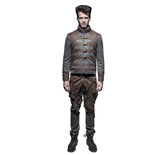 Devil Shacles Steampunk herenjack met ritssluiting en knopen Gothic korte jas voor de winter, 7 maat ?en