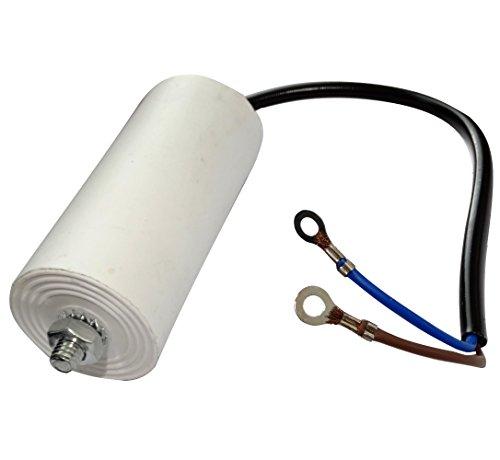 AERZETIX: Condensatore permanente di lavoro per motore 30µF 450V con cavo 19cm e capicorda occhielli M4 C18687