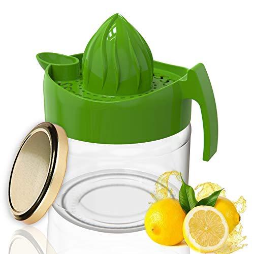 KITCHENLY® Exprimidor de limones de mano con recipiente de cristal de 230 ml para el almacenamiento ideal del exprimidor (verde)