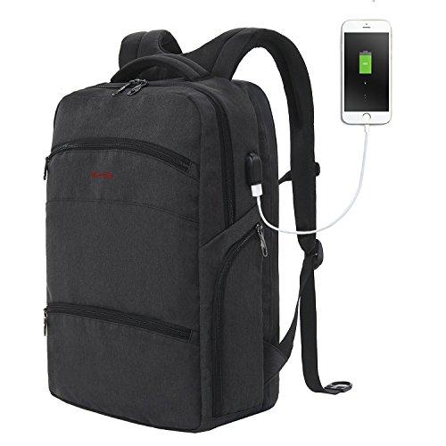 SLOTRA Laptop Rucksack 17 Zoll Herren mit USB-Ladeanschluss für Schule/Reise, Damen Anti-Diebstahl mit großer Kapazität, dunkelgrau