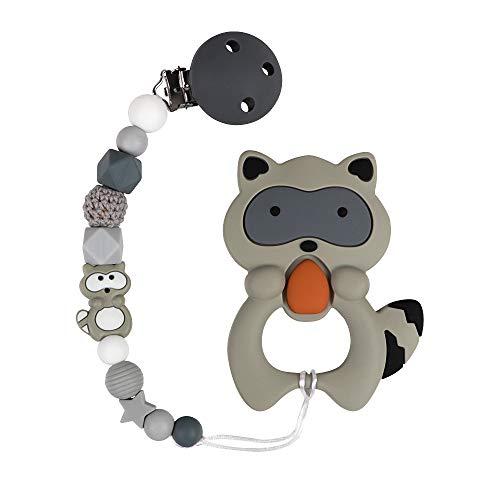 Catenella Portaciuccio Catena Bambino Ciuccio Clip Procione Koala Elefante Massaggiagengive Silicone Dentizione per Ragazzi e ragazze Senza BPA (Procione)