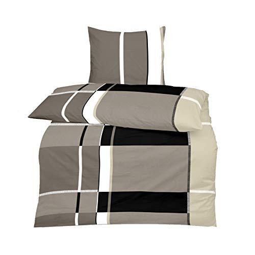 S.Ariba beddengoedset, katoenen garnituur in vele kwaliteit en maten, met ritssluiting van merk, microvezel 135 x 200 cm, 4-delig, grijs