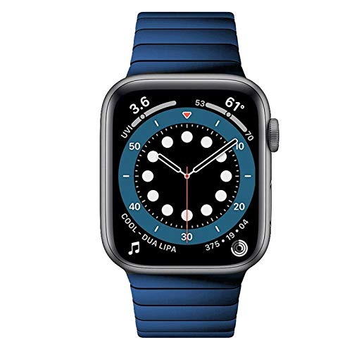 JWWLLT 2021, para Apple Watch 6 Band Series 5 4 SE 44mm 40 mm Pulsera de Enlace para iWatch 3 42mm 38mm Strap Bandas de Negocios de Acero Inoxidable Azul (Band Color : Blue, Band Width : SE 44mm)
