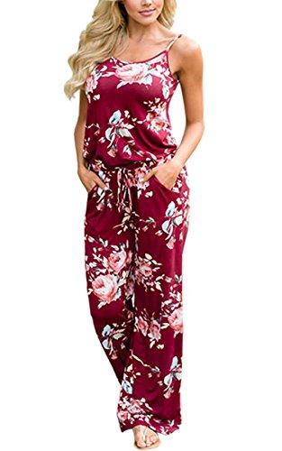 ECOWISH Jumpsuit Damen Elegant Sommer Hosenanzug Blumenmuster Ärmellos Overall Romper Winerot L