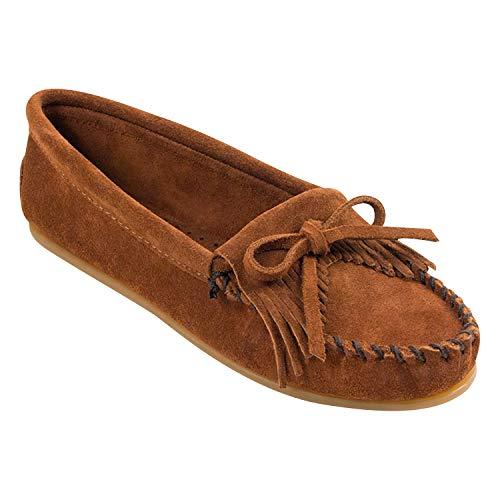 Minnetonka Women's Kilty Faux Fur Slippers, Suede Moccasin Slippers for Women 5 W Brown