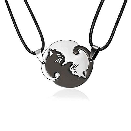 forbestest Collares parejas joyería de la cadena Negro del gato de dibujos animados Blanco redonda de acero inoxidable collar de los colgantes de Animales