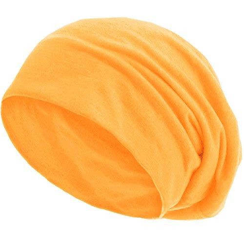 style3 Slouch Beanie aus atmungsaktivem, feinem und leichten Jersey Unisex Mütze Haube Bini Einheitsgröße, Farbe:Neon-Orange