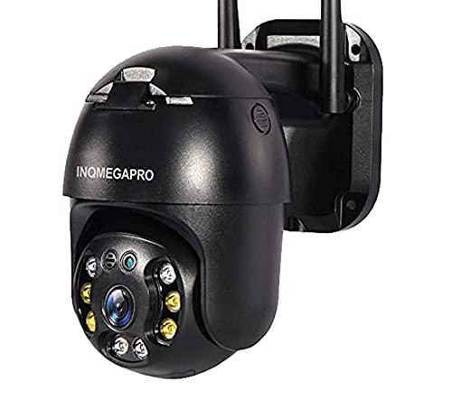 INQMEGAPRO FHD 1080P Cámara de vigilancia con cámara de vigilancia con pan 355° y inclinación 90°, visión nocturna, IP66, impermeable, auto Tracking, detección de movimiento, compatible con Alexa