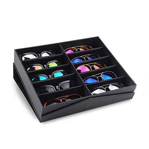 8/10/12 Cuadrícula Gafas Caja Almacenaje Show Funda de Sol Estante Expositor Organizador Bandeja Joya Relojes Soporte Almacenamiento Contenedor - Negro - 10 Grids
