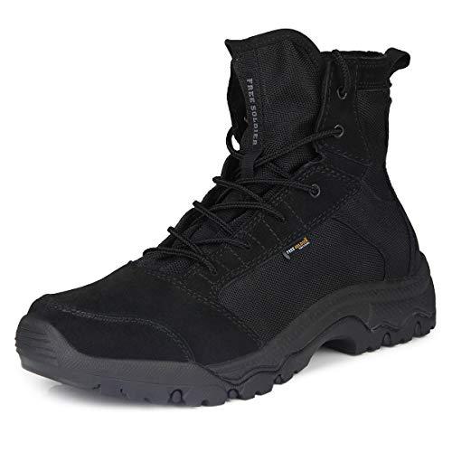 FREE SOLDIER Herren Wanderstiefel leichte Trekkingstiefel Atmungsaktive Military Boots US Army Schuhe für Outdoor Camping Wandern Bergsteigen Wüsten Offroad(44 EU, Schwarz)