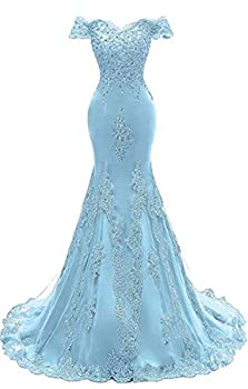 Off The Shoulder Prom Dresses Long Mermaid Sweetheart Beaded Lace Formal Evening Ball Gowns for Women Sky Blue