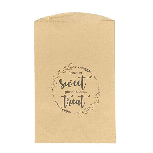 Always Earth Day 100 Kraft Paper Treat bags, Love is Sweet, 2in expandable sides, Wedding Cookie Bags, Wedding Favor Bags, Cookies Treat Bag, Candy Bags, Goodie Bags, Party Favor Bags, Grease Proof Food Safe, Recyclable