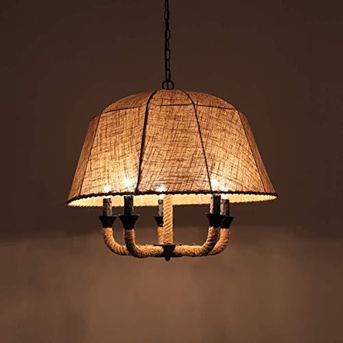 Lámpara colgante de tela rústica de 5 luces Lámpara colgante de isla de cocina retro Lámpara de araña de cuerda de cáñamo para cocina Sala de estar Restaurante Marrón Ø 60 cm E14