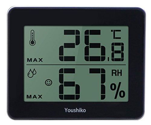 Youshiko Digitales Thermometer, Hygrometer/Luftfeuchtigkeit, Temperatur, 2in 1, großer LCD-Bildschirm