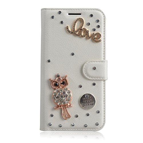 Xperia XZ Premium Case,Gift_Source [Card Slot] [Folio Flip] Handcraft Luxury 3D Bling Crystal Rhinestone PU Leather Magnetic Wallet Case Kickstand Cover for Sony Xperia XZ Premium [Diamond Owl]
