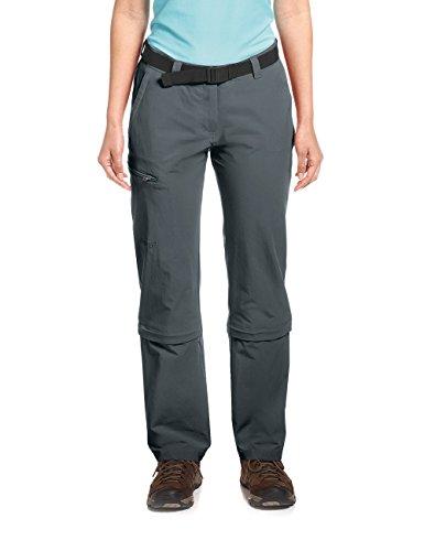 Maier Sports Pantalon d'extérieur Arolla Pantalon de randonnée Femme Pantalon Stretch Graphite Courte zippée Taille, Taille : 22