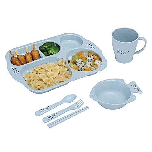 Fcslvy Geteilte Teller Set, Weizenstroh Abbaubar Geschirr, Weizenstroh Platte, Geschirr mit Kinderplatte Schüssel Tasse Löffel Gabel, gesundes Weizenstroh Geschirr