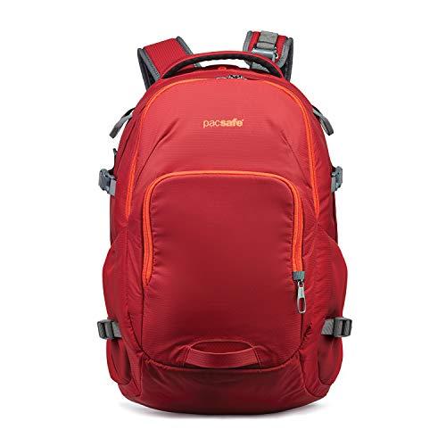 Pacsafe Venturesafe G3 28 Liter Rucksack, Anti-Diebstahl Technik, 100D Nylon Diamond Ripstop, Daypack, Wanderrucksack, Reisegepäck mit Sicherheitstechnologie, 28 Liter, Rot / Goji Berry