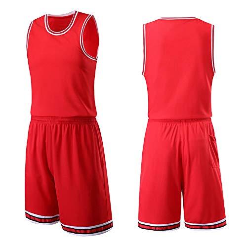 WYNBB Hombres Basketball Deportes Jersey,Verano Football Formación Ropa Set,Mujer Badminton Respirable Shorts de Playa,Red,Small