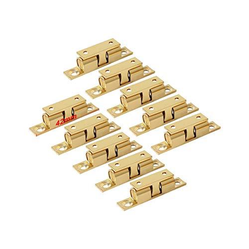 LOOTICH Messing Robust Doppel-Kugelschnäpper 42mm Türschapper Möbel-Schnapper mit Verstellbaren Türstopper Türschnäpper für Küche Schranktüren Schränke (10 Stück)
