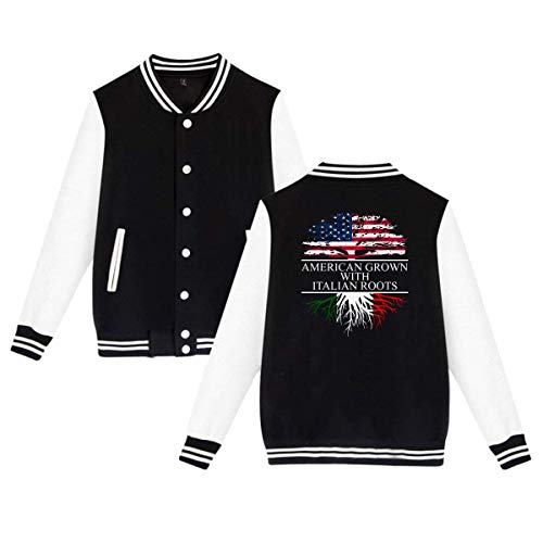 SHIEZZ American Grown with Italian Roots Unisex Baseball Uniform Jacket Sports Hoodie Black