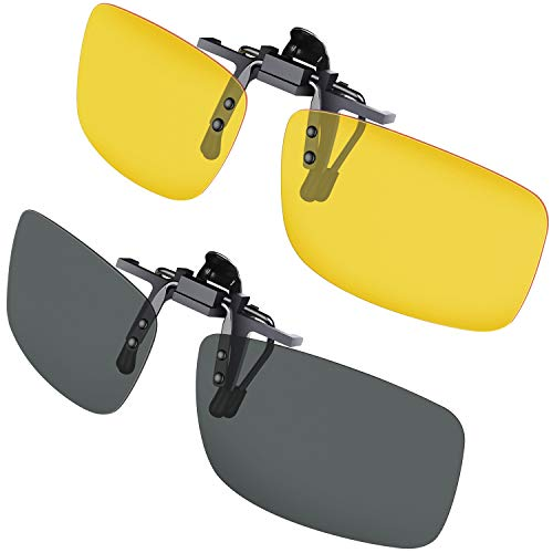 Gritin Clip on Sunglasses, [2-Pack/Day+Night Vision] Mens/Womens UV400 Flip-Up Polarised Sunglasses...