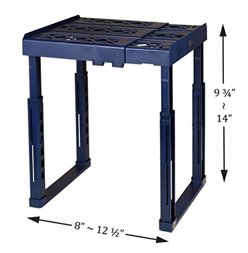 """Tools for School Locker Shelf. Adjustable Width 8"""" - 12 1/2"""" and Height 9 3/4"""" - 14"""". Stackable and Heavy Duty. Ideal for School, Work and Gym Lockers (Blue)"""