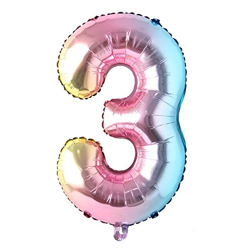 40 inch Rainbow Gradient Colorful Big Size Number Foil Helium Balloons Birthday Party Celebration Decoration Large globos (40 inch Rainbow 3)