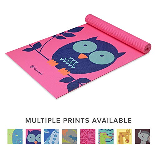 Gaiam Kids Yoga Mat Exercise Mat Yoga for Kids with Fun Prints  Playtime for Babies Active amp Calm Toddlers and Young Children Owl 3mm