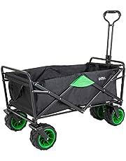 Umi. Essentials Carro Plegable con Rueda Todoterreno, Carro de Mano Carrito Playa Carro Transporte para Jardín,100 kg de capacidad (Negro/Verde)