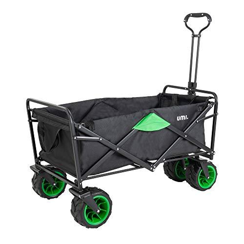 Amazon Brand - Umi Bollerwagen Offroad Transportwagen Handwagen faltbar Gartenwagen die Reifen mit Lager für Alle Gelände Geeignet (Schwarz/Grün)