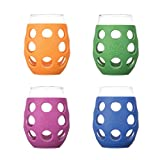 Lifefactory 11-Ounce BPA-Free Indoor/Outdoor Wine Glass with Protective Silicone Sleeve, 4-pack, Orange, Cobalt, Grass Green and Huckleberry
